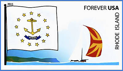 Gold Star Banner Painting - Rhode Island Flag by Lanjee Chee