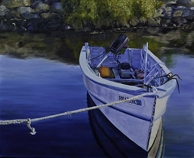 Tied Up Painting - Rhode Island Inlet by David Gorski