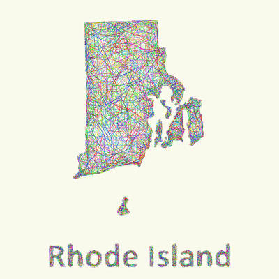 Multicolor Drawing - Rhode Island Line Art Map by David Zydd