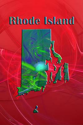 Rhode Island Map Digital Art - Rhode Island Map by Roger Wedegis