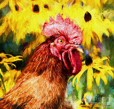Fruits And Vegetables Still Life - Rhode Island Red Rooster by Tina  LeCour