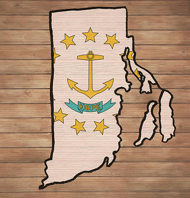 Mixed Media - Rhode Island Rustic Map On Wood by Dan Sproul