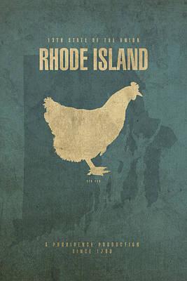 Rhode Island State Facts Minimalist Movie Poster Art Art Print by Design Turnpike