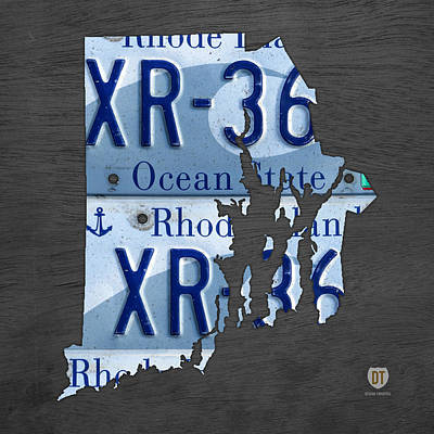 Rhode Island State License Plate Map Recycled Car Tag Art Art Print