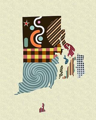 State Of Rhode Island Digital Art - Rhode Island State Map by Lanre Studio