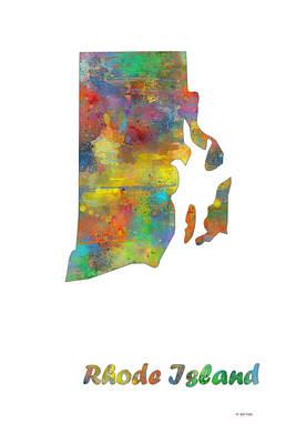 Rhode Island State Map Art Print by Marlene Watson