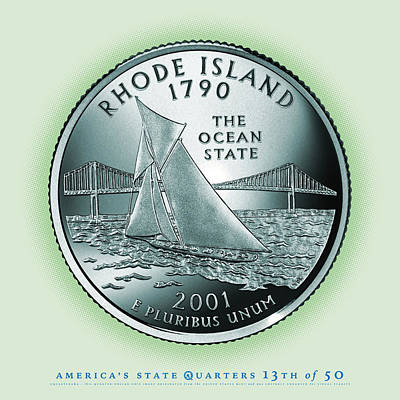 State Of Rhode Island Digital Art - Rhode Island State Quarter - Portrait Coin 13 by Garrett Burke