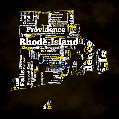 Quaker Mixed Media - Rhode Island Typographic Map by Brian Reaves