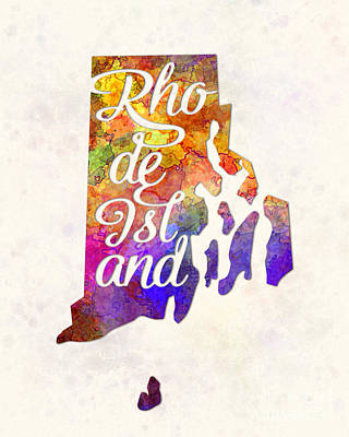 Rhode Island Us State In Watercolor Text Cut Out Art Print by Pablo Romero