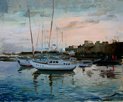Boat Harbour Wall Art - Painting - Rhodes Mandraki Harbour by Ylli Haruni