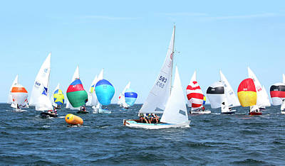Photograph - Rhodes Nationals Sailing Race Dennis Cape Cod by Charles Harden