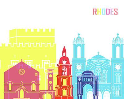 Rhodes Painting - Rhodes Skyline Pop by Pablo Romero