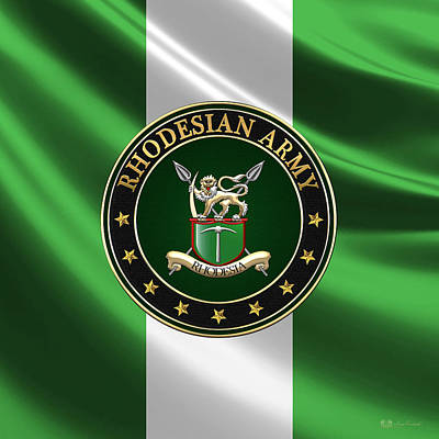 Rhodesian Army Emblem Over Flag Original by Serge Averbukh