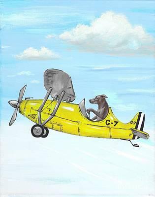 Rhodesian Ridgeback In Flight Art Print by Margaryta Yermolayeva