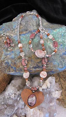 Mixed Media - Rhodochrosite In Gourd Wood Heart #h66 by Barbara Prestridge