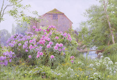 Purple Flowers Painting - Rhododendrons By A Watermill by George Marks