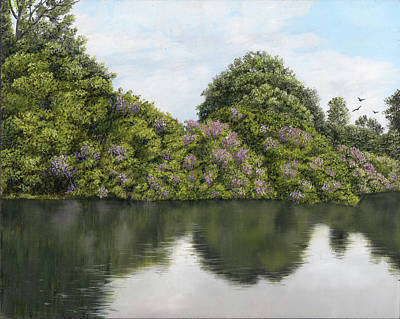Painting - Rhododendrons By The River by Kathie Miller