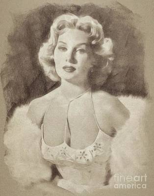 Musicians Drawings Rights Managed Images - Rhonda Fleming, Vintage Actress by John Springfield Royalty-Free Image by John Springfield