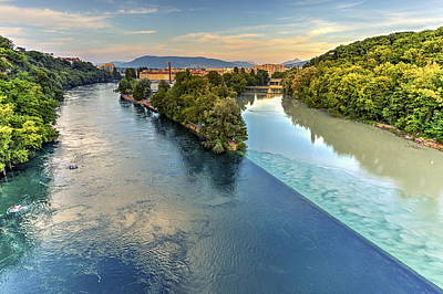 Photograph - Rhone And Arve River Confluence, Geneva, Switzerland, Hdr by Elenarts - Elena Duvernay photo