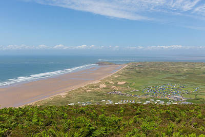 The Gower Photograph - Rhossili Beach And Coast Towards Burry Holms And Hillend The Gower Peninsula Wales Uk In Summer  by Michael Charles