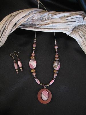 Jewelry - Rhrodochrosite Set In Gourd Wood by Barbara Prestridge