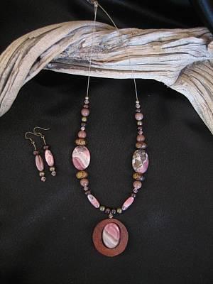 Jewelry - Rhrodochrosite Set In Gourd Wood by Barbara Prestridge