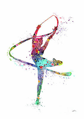 Gymnast Digital Art - Rhythmic Gymnastics Print Sports Print Watercolor Print Dancer Girl  by Svetla Tancheva