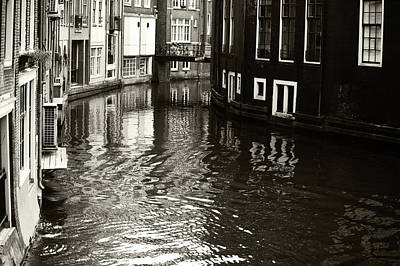 Photograph - Rhythms Of Amsterdam Reflections. Black And White by Jenny Rainbow