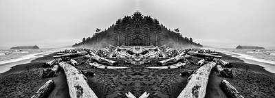 Surrealism Digital Art Rights Managed Images - Rialto Beach Black and White Reflection Royalty-Free Image by Pelo Blanco Photo