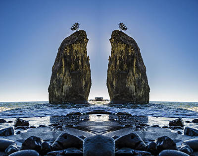 Surrealism Digital Art Rights Managed Images - Rialto Beach Sea Stack Reflection Royalty-Free Image by Pelo Blanco Photo