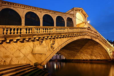 Photograph - Rialto Bridge At Night by Songquan Deng