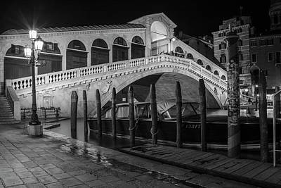 Photograph - Rialto Bridge At Night With Boat by John McGraw