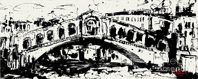 Venice Italy Ginette Painting - Rialto Bridge Venice by Ginette Callaway