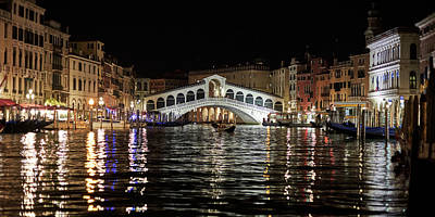 Photograph - Rialto Night - 4284 by Marco Missiaja