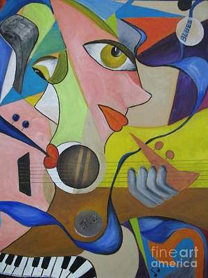 Art Print featuring the painting Ribbon Of Blues And Jazz by Anna-maria Dickinson