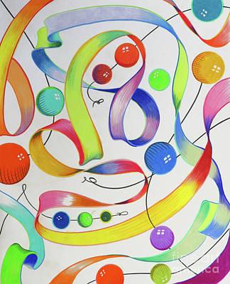 Gay Fantasy Drawing - Ribbon Of Life by David Roper
