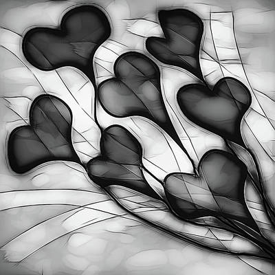 Photograph - Ribbon To My Heart Art In Black And White by Debra and Dave Vanderlaan