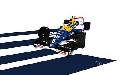 Racecar Drawing - Riccardo Patrese - Williams Fw14b by Jeremy Owen