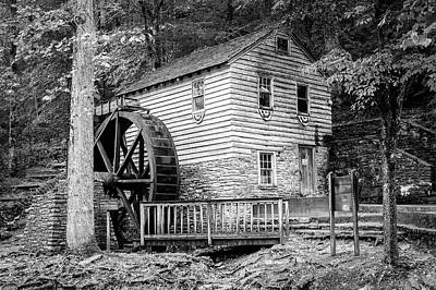 Photograph - Rice Grist Mill - Norris Dam State Park - Tennessee - Black And White by Gregory Ballos