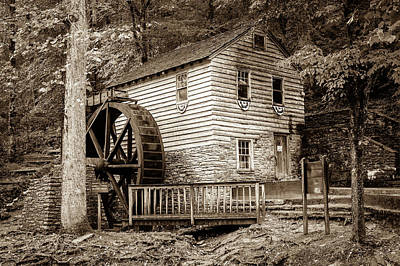 Photograph - Rice Grist Mill - Norris Dam State Park - Tennessee - Sepia by Gregory Ballos