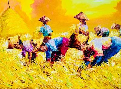 Painting - Rice Harvest  by Pretchill Smith
