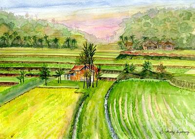 Painting - Ricefield Panorama by Melly Terpening