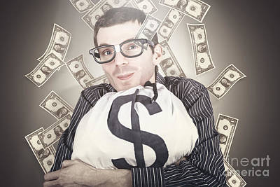Earnings Photograph - Rich Business Man With Bag Loads Of Money by Jorgo Photography - Wall Art Gallery