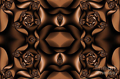 Digital Art - Rich Coffee Fractal Roses by Clayton Bruster