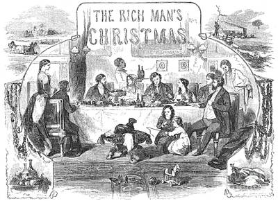Table Wine Photograph - Rich Mans Christmas, 1855 by Granger