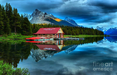 Photograph - Rich Sunset Colors At The Maligne Lake Boathouse by Adam Jewell