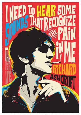 The Verve Digital Art - Richard Ashcroft Pop Art Quote by BONB Creative