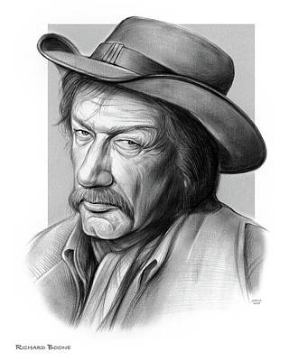 Drawing - Richard Boone 3 by Greg Joens
