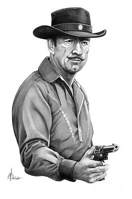 Famous People Drawing - Richard Boone As Paladin by Murphy Elliott