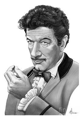 Famous People Drawing - Richard Boone by Murphy Elliott